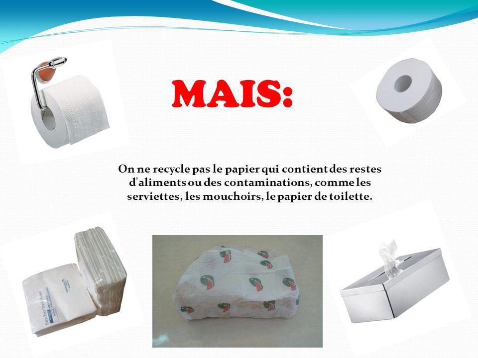 On ne recycle pas le papier qui contient des restes d'aliments ou des contaminations, comme les serviettes, les mouchoirs, le papier de toilette. MAIS