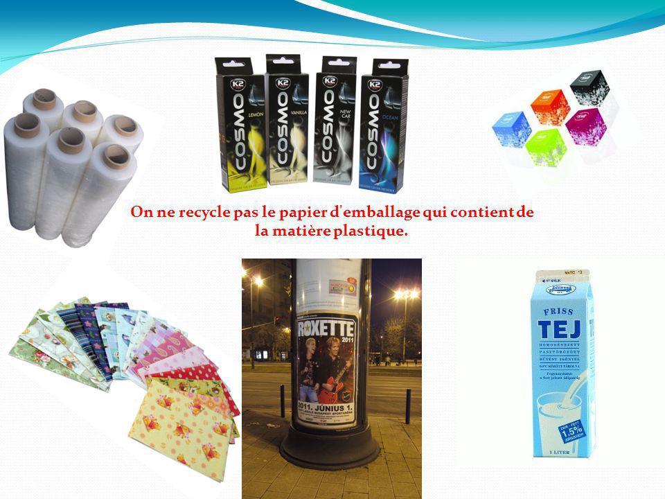 On ne recycle pas le papier d'emballage qui contient de la matière plastique.