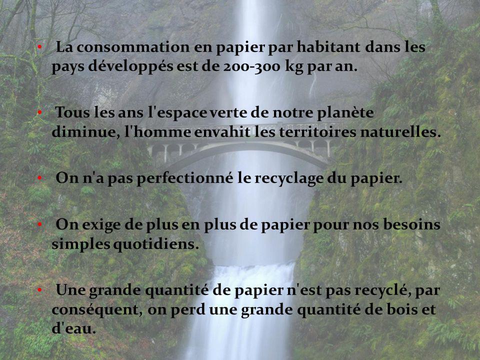 La consommation en papier par habitant dans les pays développés est de 200-300 kg par an. Tous les ans l'espace verte de notre planète diminue, l'homm
