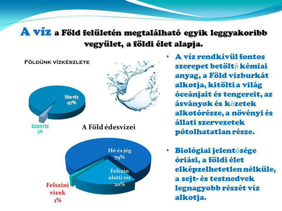 A víz rendkívül fontos szerepet betölt ő kémiai anyag, a Föld vízburkát alkotja, kitölti a világ óceánjait és tengereit, az ásványok és k ő zetek alko