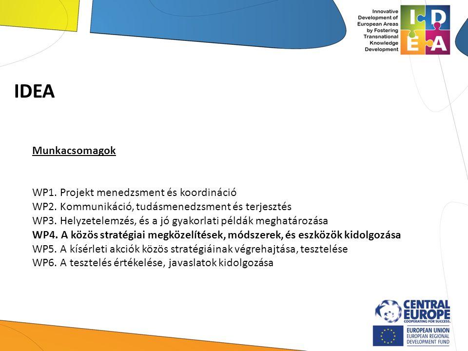 IDEA Munkacsomagok WP1. Projekt menedzsment és koordináció WP2. Kommunikáció, tudásmenedzsment és terjesztés WP3. Helyzetelemzés, és a jó gyakorlati p