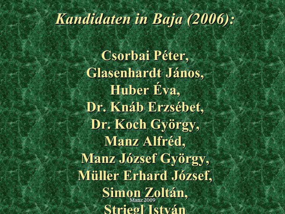 Kandidaten in Baja (2006): Csorbai Péter, Glasenhardt János, Huber Éva, Dr. Knáb Erzsébet, Dr. Koch György, Manz Alfréd, Manz József György, Müller Er
