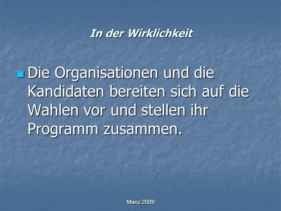 In der Wirklichkeit Die Organisationen und die Kandidaten bereiten sich auf die Wahlen vor und stellen ihr Programm zusammen. Die Organisationen und d