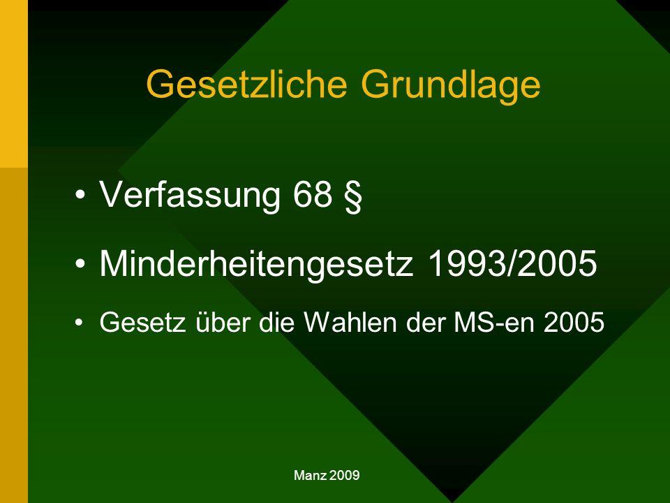 Gesetzliche Grundlage Verfassung 68 § Minderheitengesetz 1993/2005 Gesetz über die Wahlen der MS-en 2005 Manz 2009