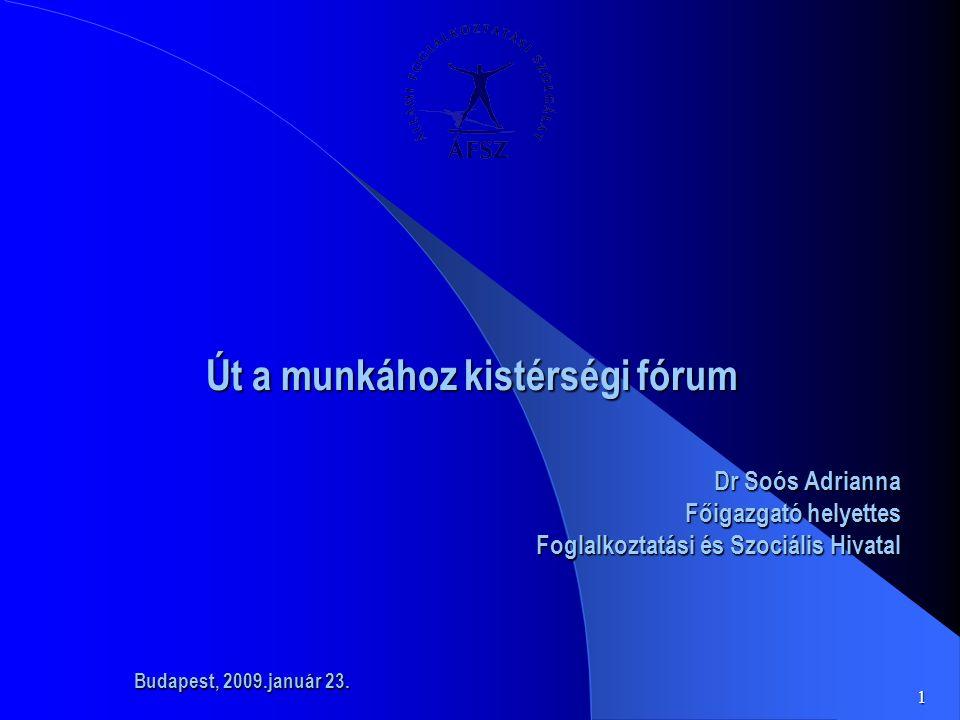 1 Út a munkához kistérségi fórum Út a munkához kistérségi fórum Dr Soós Adrianna Főigazgató helyettes Foglalkoztatási és Szociális Hivatal Budapest, 2009.január 23.