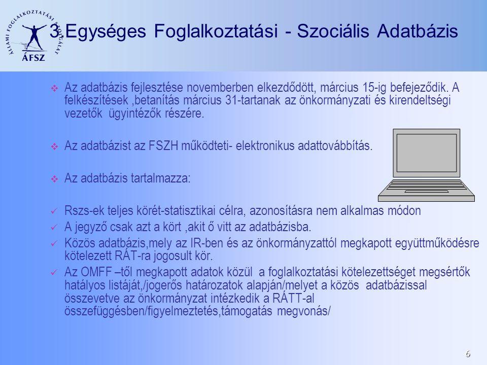 6 3.Egységes Foglalkoztatási - Szociális Adatbázis Az adatbázis fejlesztése novemberben elkezdődött, március 15-ig befejeződik. A felkészítések,betaní
