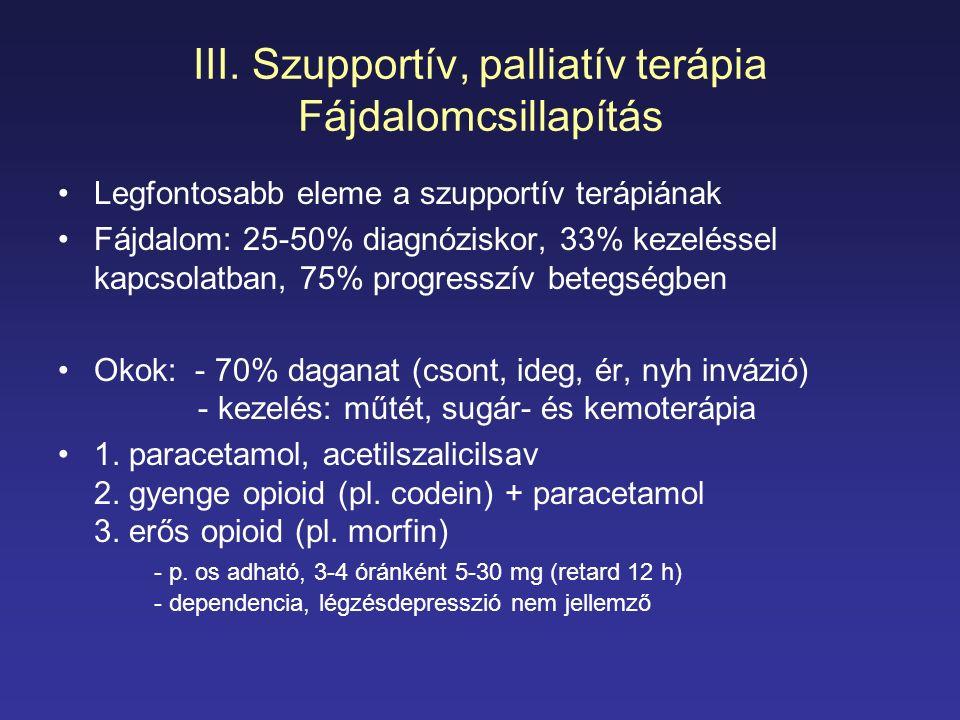 III. Szupportív, palliatív terápia Fájdalomcsillapítás Legfontosabb eleme a szupportív terápiának Fájdalom: 25-50% diagnóziskor, 33% kezeléssel kapcso