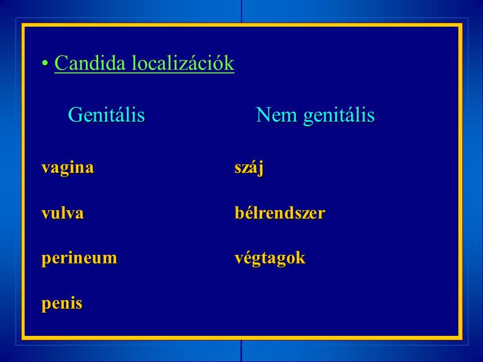 Candida localizációk Genitális Nem genitális Genitális Nem genitális vaginaszáj vulvabélrendszer perineumvégtagok penis