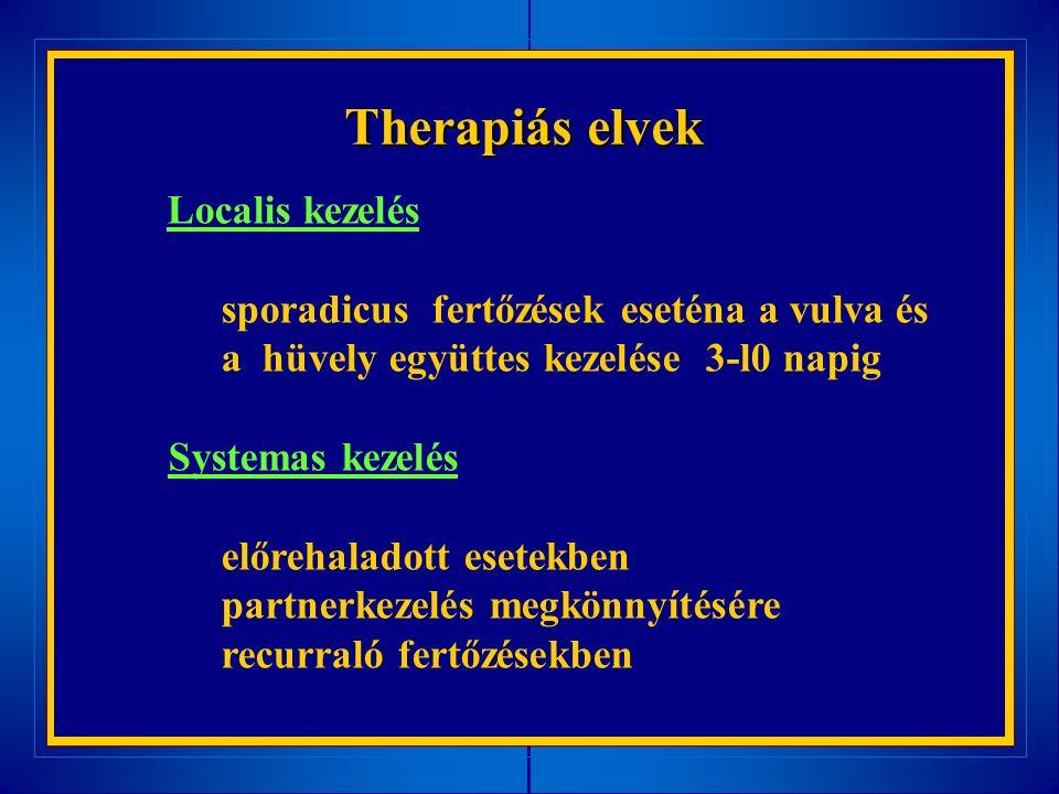 Therapiás elvek Localis kezelés sporadicus fertőzések eseténa a vulva és a hüvely együttes kezelése 3-l0 napig Systemas kezelés előrehaladott esetekben partnerkezelés megkönnyítésére recurraló fertőzésekben
