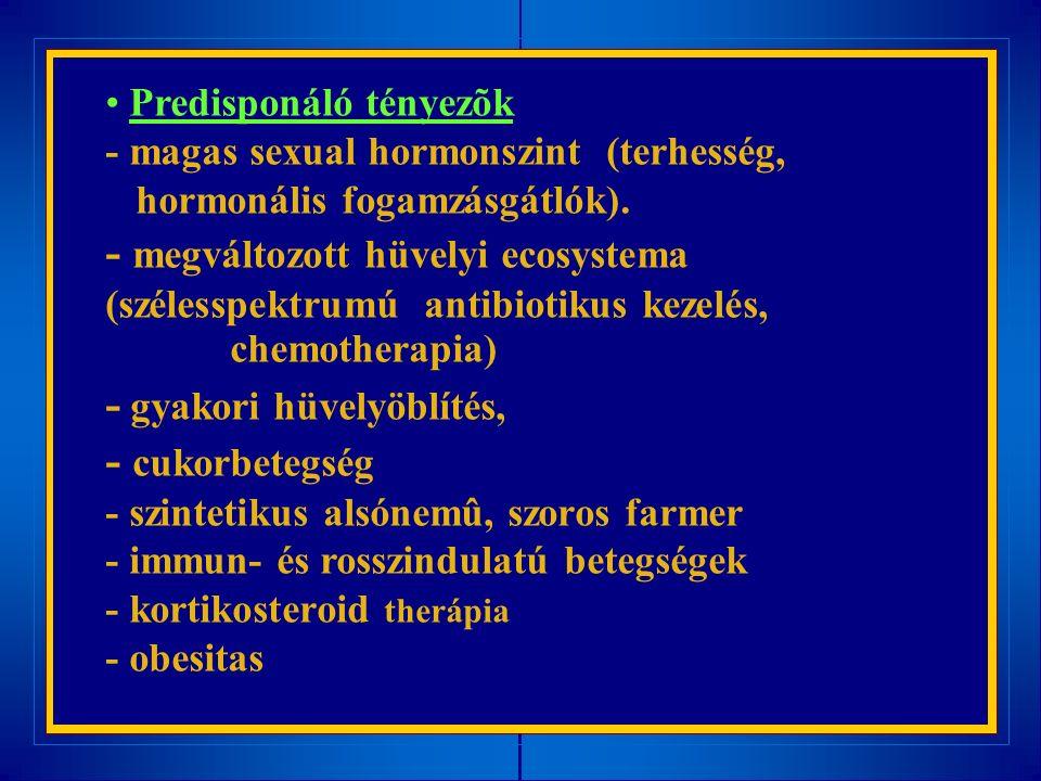 Predisponáló tényezõk - magas sexual hormonszint (terhesség, hormonális fogamzásgátlók).