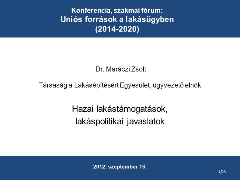 Dr. Maráczi Zsolt Társaság a Lakásépítésért Egyesület, ügyvezető elnök Hazai lakástámogatások, lakáspolitikai javaslatok Konferencia, szakmai fórum: U