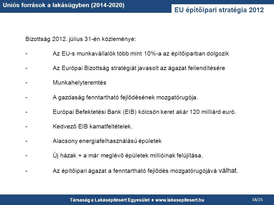 Társaság a Lakásépítésért Egyesület www.lakasepitesert.hu 18/25 Uniós források a lakásügyben (2014-2020) EU építőipari stratégia 2012 Bizottság 2012.