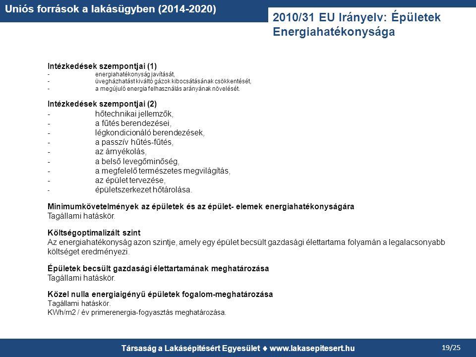 Társaság a Lakásépítésért Egyesület www.lakasepitesert.hu 19/25 Uniós források a lakásügyben (2014-2020) 2010/31 EU Irányelv: Épületek Energiahatékony
