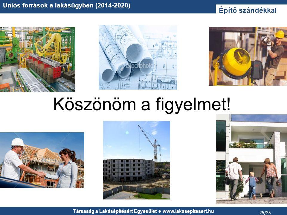 Társaság a Lakásépítésért Egyesület www.lakasepitesert.hu Uniós források a lakásügyben (2014-2020) 25/25 Köszönöm a figyelmet! Építő szándékkal