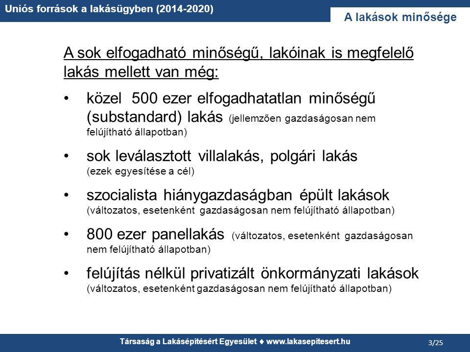 Társaság a Lakásépítésért Egyesület www.lakasepitesert.hu Uniós források a lakásügyben (2014-2020) 3/25 A lakások minősége A sok elfogadható minőségű,