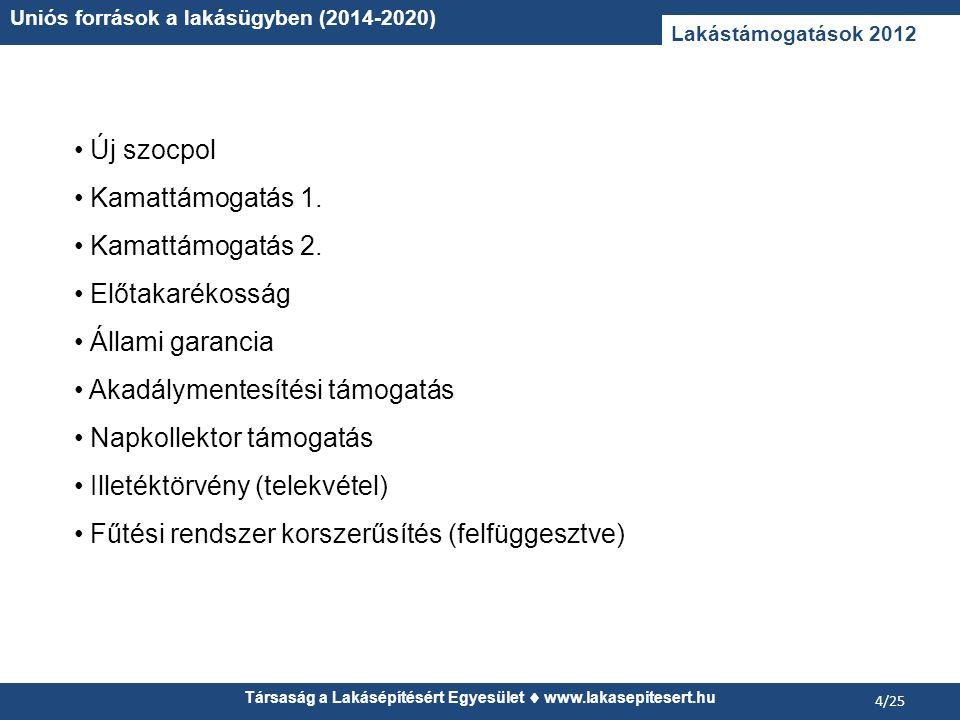 Társaság a Lakásépítésért Egyesület www.lakasepitesert.hu Uniós források a lakásügyben (2014-2020) 4/25 Lakástámogatások 2012 Új szocpol Kamattámogatá