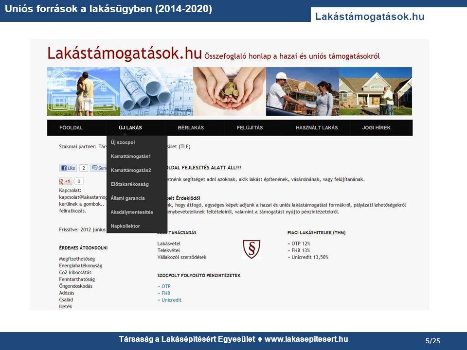 Társaság a Lakásépítésért Egyesület www.lakasepitesert.hu Uniós források a lakásügyben (2014-2020) 5/25 Lakástámogatások.hu