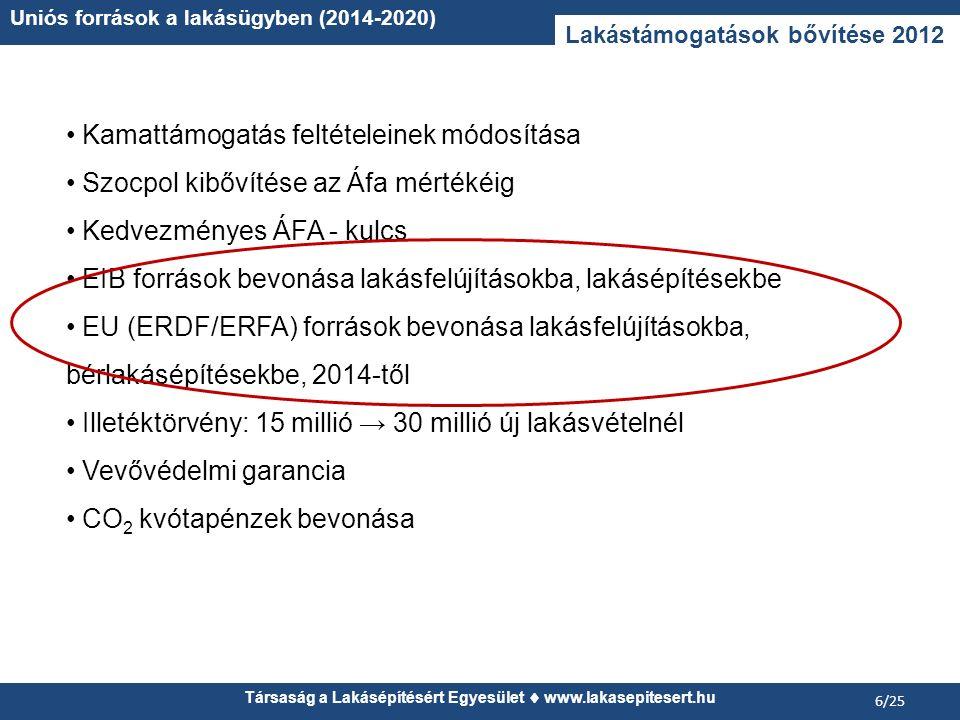 Társaság a Lakásépítésért Egyesület www.lakasepitesert.hu Uniós források a lakásügyben (2014-2020) 6/25 Lakástámogatások bővítése 2012 Kamattámogatás