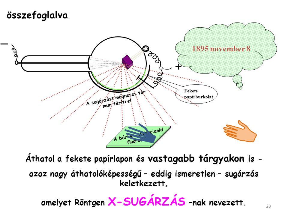 Mágneses tér eltéríti az elektronsugarat _ + + _ + + D É A fluoreszcens folt nem mozdult.