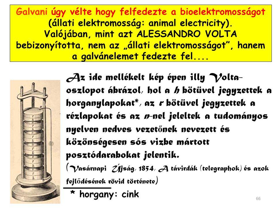 A jelenséget Galvani a laboratóriumi asztalon is előidézte vasból és rézből készült csipesszel. 65