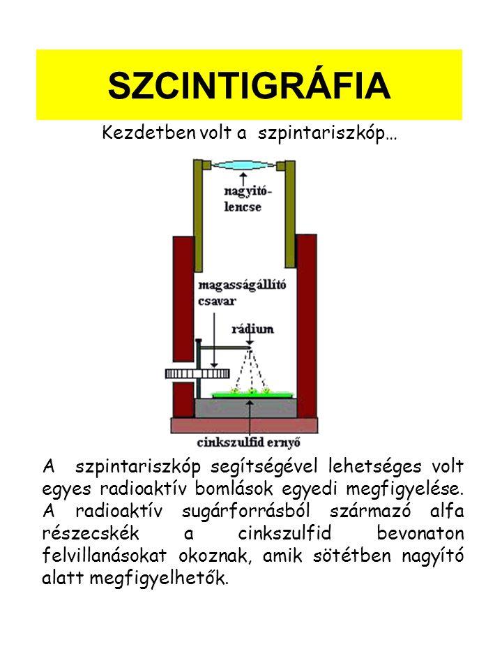 SZCINTIGRÁFIA A szpintariszkóp segítségével lehetséges volt egyes radioaktív bomlások egyedi megfigyelése.