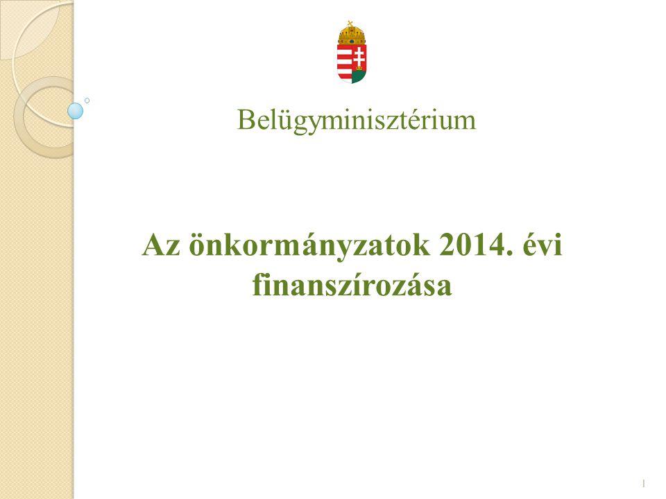 Belügyminisztérium Az önkormányzatok 2014. évi finanszírozása 1
