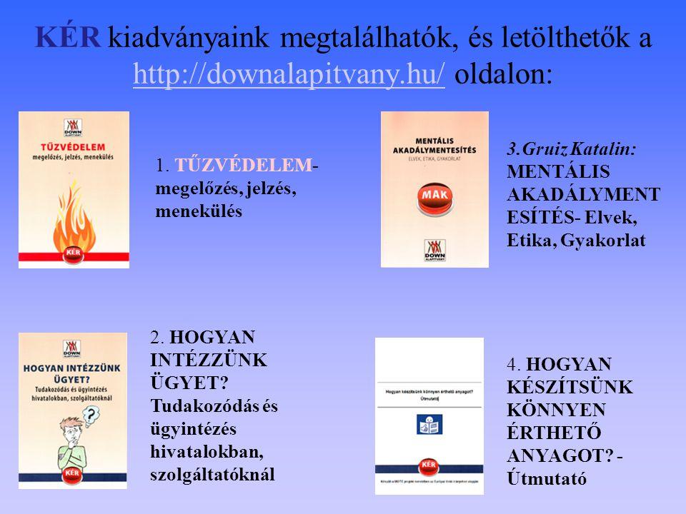 KÉR kiadványaink megtalálhatók, és letölthetők a http://downalapitvany.hu/ oldalon: http://downalapitvany.hu/ 1. TŰZVÉDELEM- megelőzés, jelzés, menekü