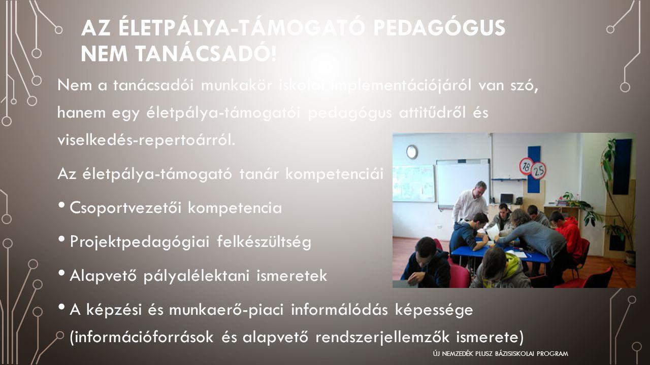 AZ ÉLETPÁLYA-TÁMOGATÓ PEDAGÓGUS NEM TANÁCSADÓ! Nem a tanácsadói munkakör iskolai implementációjáról van szó, hanem egy életpálya-támogatói pedagógus a