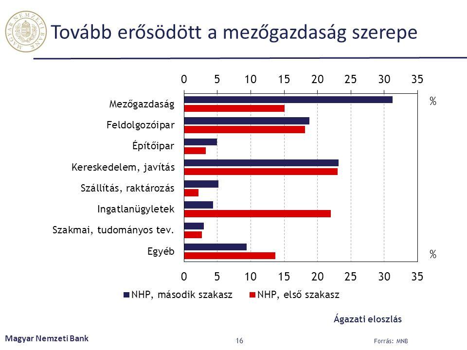 Tovább erősödött a mezőgazdaság szerepe 16 Magyar Nemzeti Bank Forrás: MNB Ágazati eloszlás