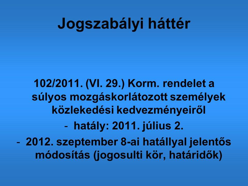 Jogszabályi háttér 102/2011. (VI. 29.) Korm. rendelet a súlyos mozgáskorlátozott személyek közlekedési kedvezményeiről -hatály: 2011. július 2. -2012.
