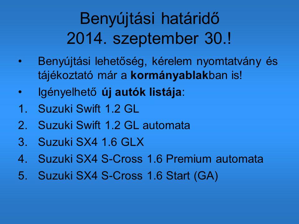 Benyújtási határidő 2014. szeptember 30.! Benyújtási lehetőség, kérelem nyomtatvány és tájékoztató már a kormányablakban is! Igényelhető új autók list