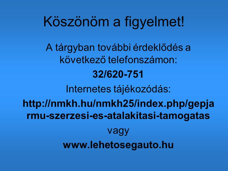 Köszönöm a figyelmet! A tárgyban további érdeklődés a következő telefonszámon: 32/620-751 Internetes tájékozódás: http://nmkh.hu/nmkh25/index.php/gepj