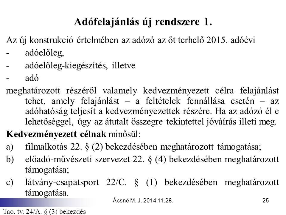 Ácsné M.J. 2014.11.28.25 Adófelajánlás új rendszere 1.