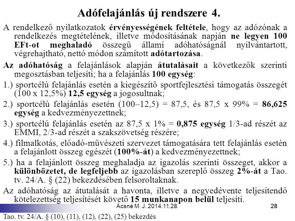 Ácsné M.J. 2014.11.28.28 Adófelajánlás új rendszere 4.