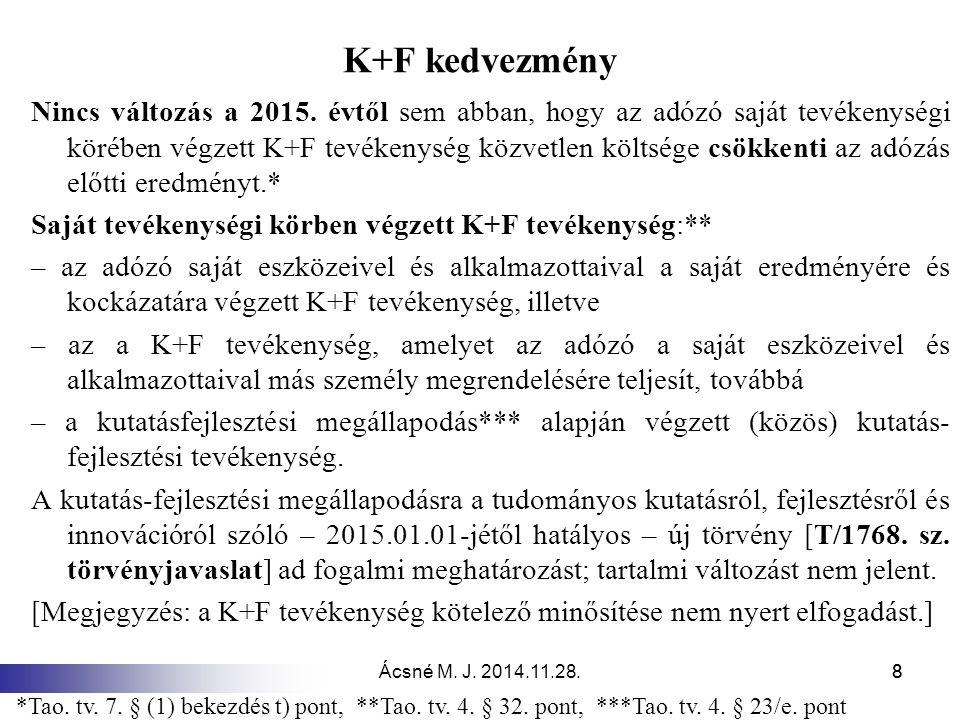 Ácsné M.J. 2014.11.28.88 K+F kedvezmény Nincs változás a 2015.