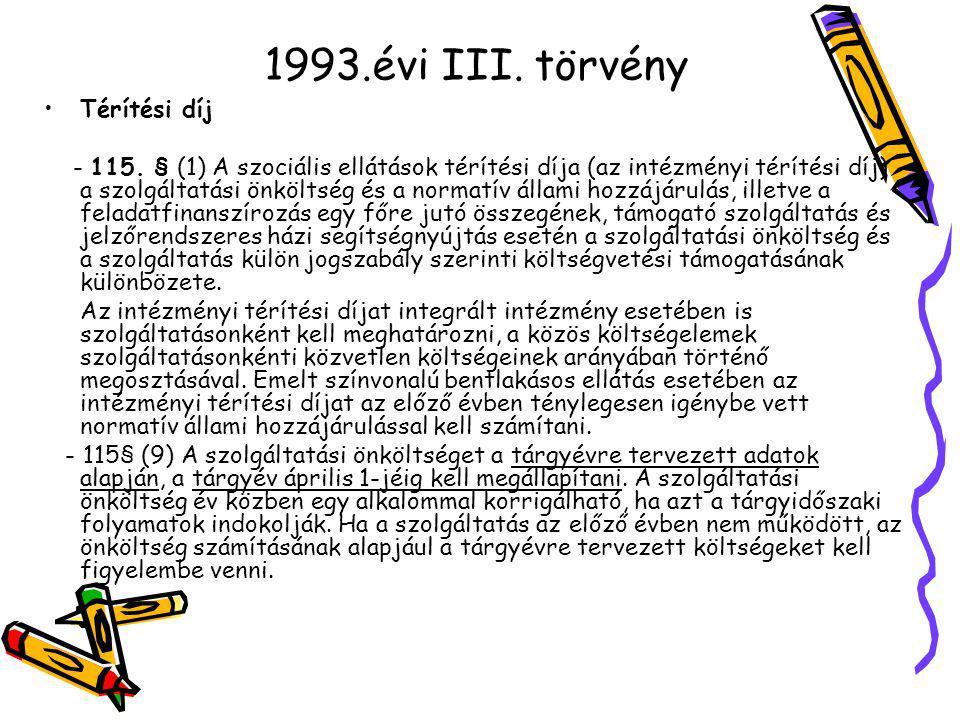 1993.évi III. törvény Térítési díj - 115.