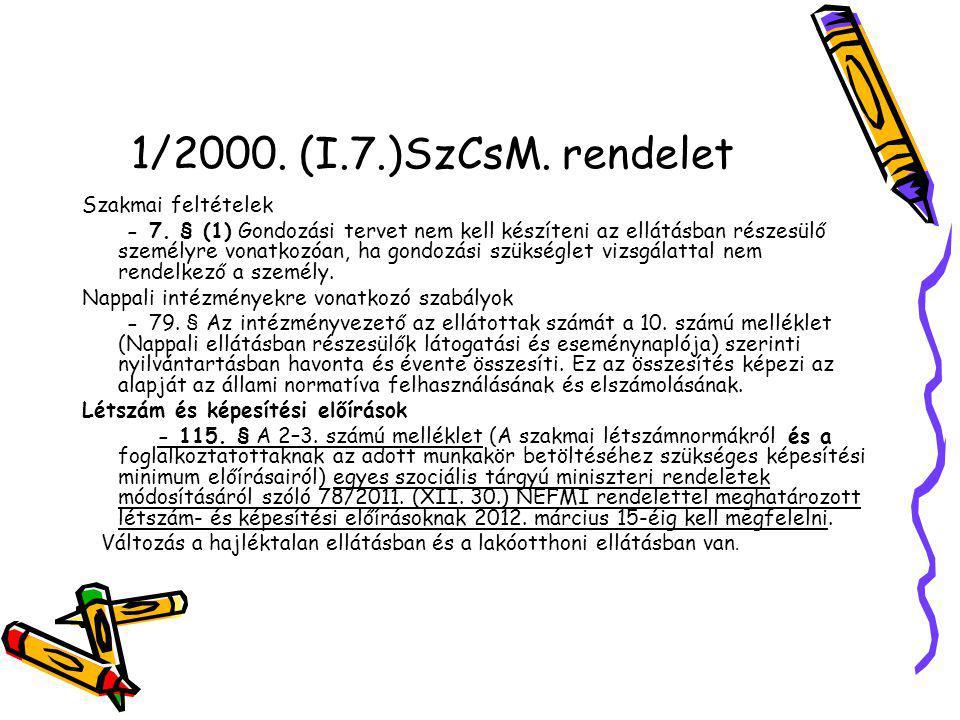 36/2007.(XII. 22.) SZMM rendelet a gond. szükséglet, v.