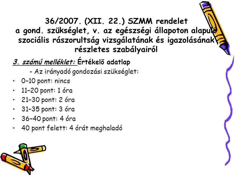 36/2007. (XII. 22.) SZMM rendelet a gond. szükséglet, v.