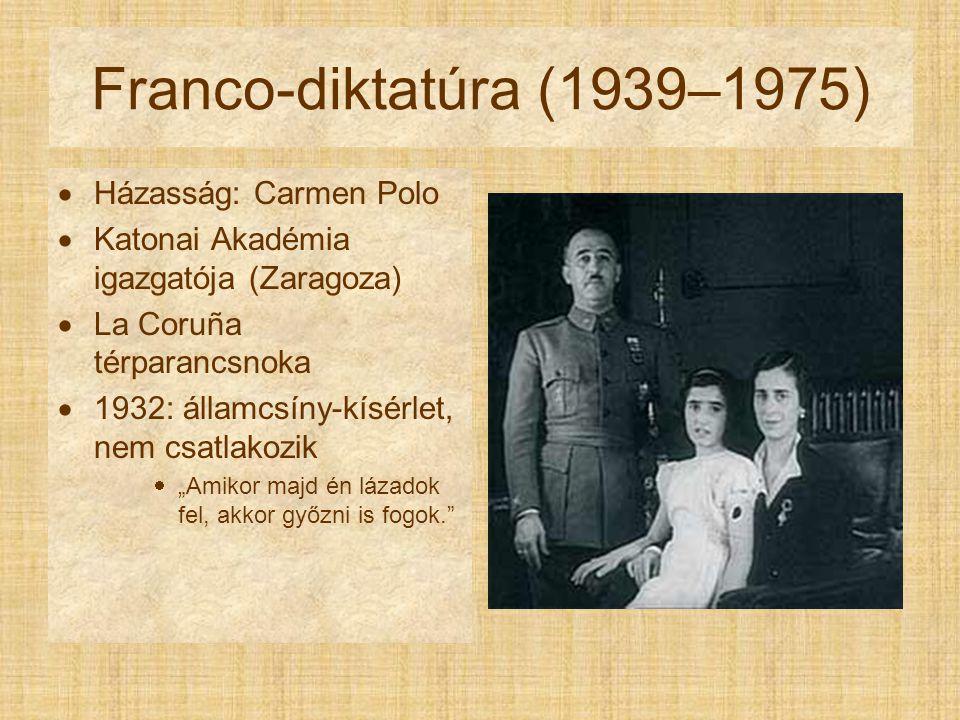 """Franco-diktatúra (1939–1975)  Házasság: Carmen Polo  Katonai Akadémia igazgatója (Zaragoza)  La Coruña térparancsnoka  1932: államcsíny-kísérlet, nem csatlakozik  """"Amikor majd én lázadok fel, akkor győzni is fogok."""