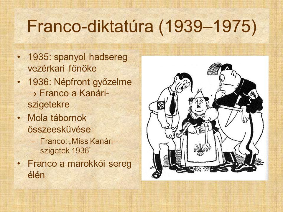"""Franco-diktatúra (1939–1975) 1935: spanyol hadsereg vezérkari főnöke 1936: Népfront győzelme  Franco a Kanári- szigetekre Mola tábornok összeesküvése –Franco: """"Miss Kanári- szigetek 1936 Franco a marokkói sereg élén"""