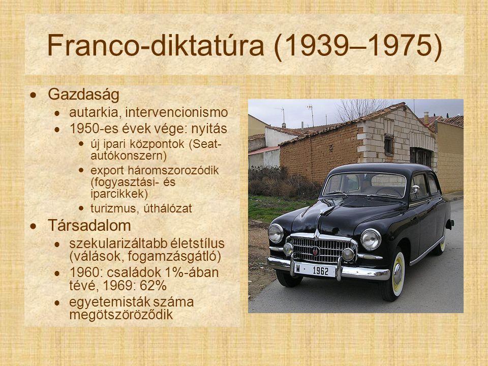 Franco-diktatúra (1939–1975)  Gazdaság  autarkia, intervencionismo  1950-es évek vége: nyitás  új ipari központok (Seat- autókonszern)  export háromszorozódik (fogyasztási- és iparcikkek)  turizmus, úthálózat  Társadalom  szekularizáltabb életstílus (válások, fogamzásgátló)  1960: családok 1%-ában tévé, 1969: 62%  egyetemisták száma megötszöröződik