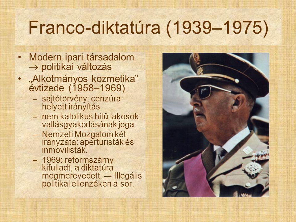"""Franco-diktatúra (1939–1975) Modern ipari társadalom  politikai változás """"Alkotmányos kozmetika"""" évtizede (1958–1969) –sajtótörvény: cenzúra helyett"""