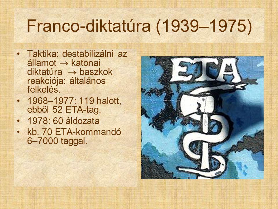 Franco-diktatúra (1939–1975) Taktika: destabilizálni az államot  katonai diktatúra  baszkok reakciója: általános felkelés. 1968–1977: 119 halott, eb