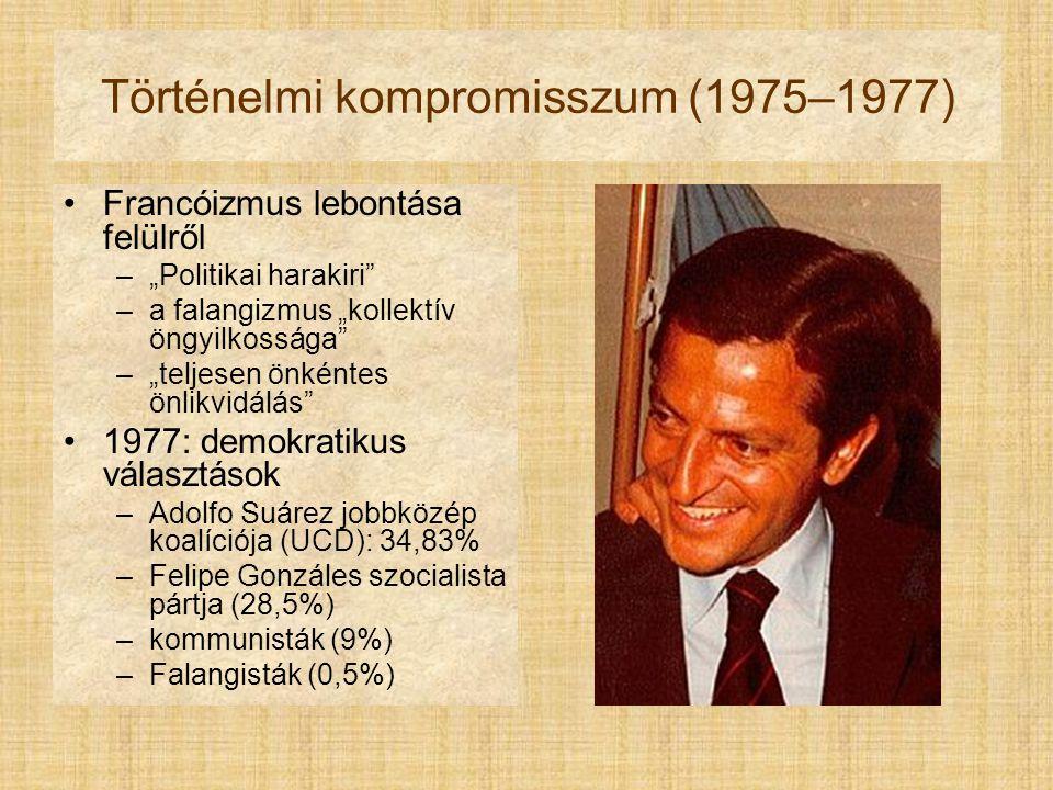 """Történelmi kompromisszum (1975–1977) Francóizmus lebontása felülről –""""Politikai harakiri –a falangizmus """"kollektív öngyilkossága –""""teljesen önkéntes önlikvidálás 1977: demokratikus választások –Adolfo Suárez jobbközép koalíciója (UCD): 34,83% –Felipe Gonzáles szocialista pártja (28,5%) –kommunisták (9%) –Falangisták (0,5%)"""