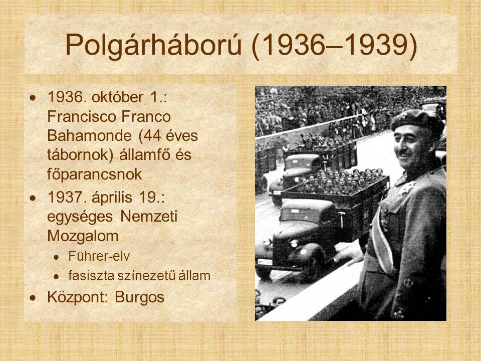 Polgárháború (1936–1939)  1936. október 1.: Francisco Franco Bahamonde (44 éves tábornok) államfő és főparancsnok  1937. április 19.: egységes Nemze