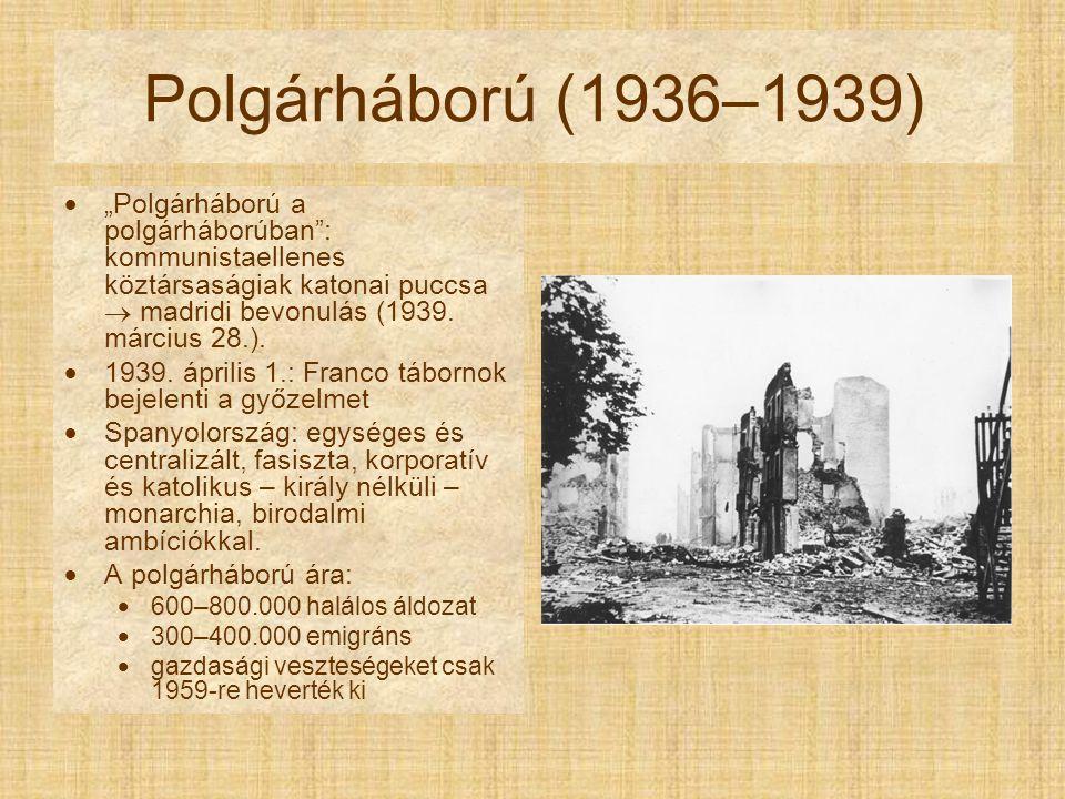 """Polgárháború (1936–1939)  """"Polgárháború a polgárháborúban"""": kommunistaellenes köztársaságiak katonai puccsa  madridi bevonulás (1939. március 28.)."""