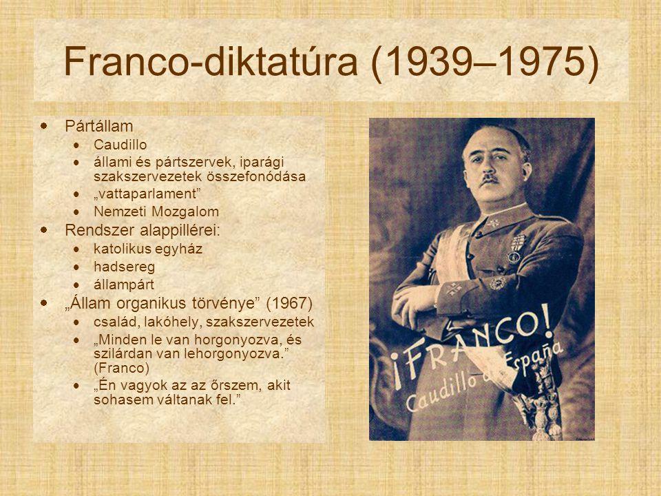 """Franco-diktatúra (1939–1975)  Pártállam  Caudillo  állami és pártszervek, iparági szakszervezetek összefonódása  """"vattaparlament  Nemzeti Mozgalom  Rendszer alappillérei:  katolikus egyház  hadsereg  állampárt  """"Állam organikus törvénye (1967)  család, lakóhely, szakszervezetek  """"Minden le van horgonyozva, és szilárdan van lehorgonyozva. (Franco)  """"Én vagyok az az őrszem, akit sohasem váltanak fel."""