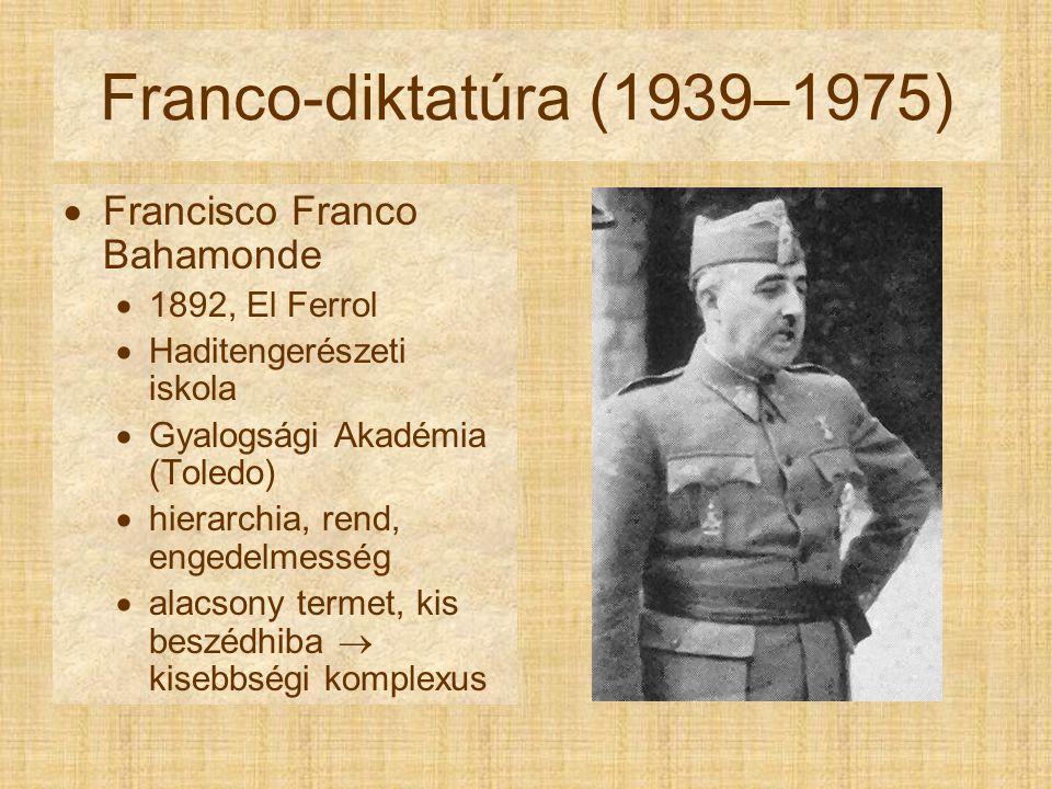 Franco-diktatúra (1939–1975)  Francisco Franco Bahamonde  1892, El Ferrol  Haditengerészeti iskola  Gyalogsági Akadémia (Toledo)  hierarchia, rend, engedelmesség  alacsony termet, kis beszédhiba  kisebbségi komplexus