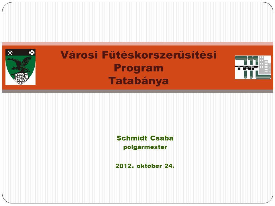 Schmidt Csaba polgármester 2012. október 24. Városi Fűtéskorszerűsítési Program Tatabánya