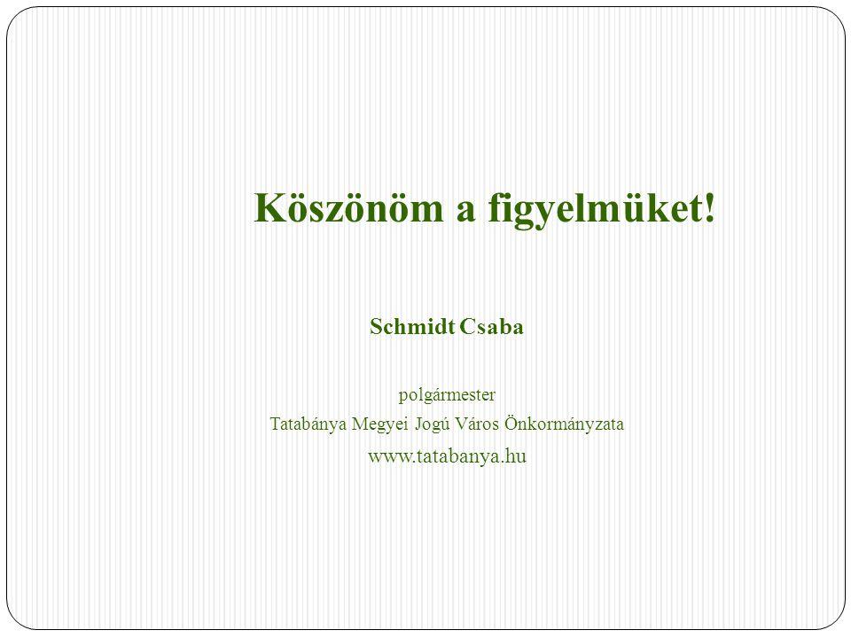 Köszönöm a figyelmüket! Schmidt Csaba polgármester Tatabánya Megyei Jogú Város Önkormányzata www.tatabanya.hu